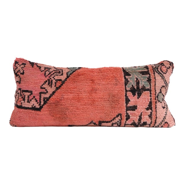 Vintage Moroccan Rug Lumbar Pillow Cover - Image 1 of 4