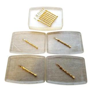 Vintage Appetizer Trays & Forks Serving Set, 24 Piece