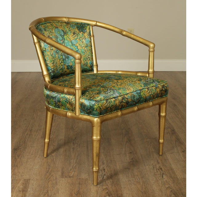 1960s Hollywood Regency Faux Bamboo Mid Century Gilt Wood Barrel Back Armchairs - a Pair For Sale - Image 5 of 13