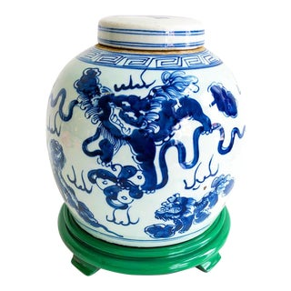 Blue & White Chinoiserie Dancing Dragon Ginger Jar on Wooden Green Painted Carved Base