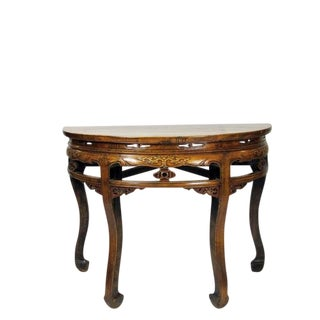 1900s Chinese Half Moon Demi Table For Sale