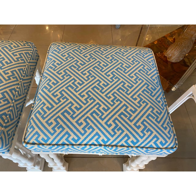 Vintage Palm Beach Faux Bamboo Blue & White Lacquered Greek Key Upholstered Benches Stools -A Pair For Sale - Image 10 of 13
