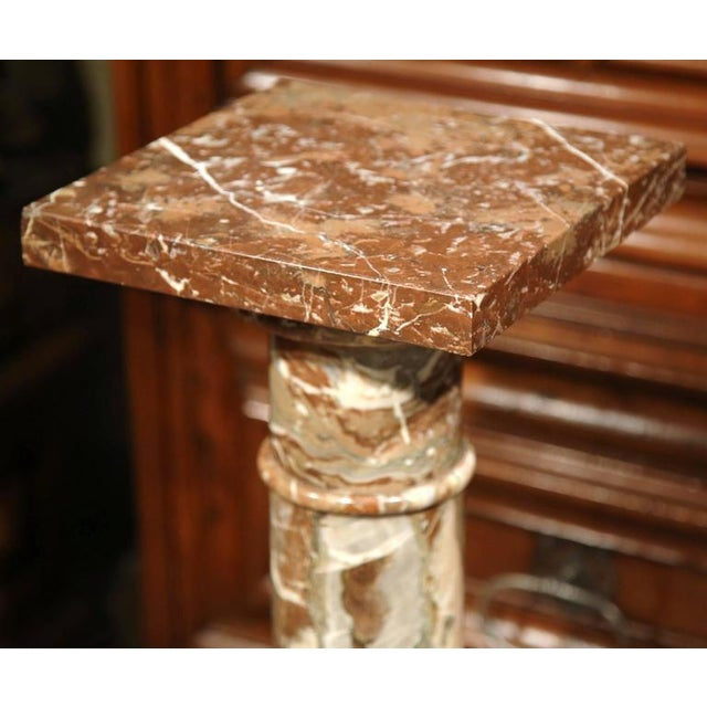 19th Century French Carved Red Marble Swivel Top Pedestal For Sale - Image 5 of 6