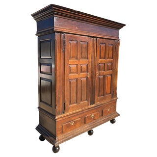 Walnut Raised Panel Linen Press Kas, 18th Century, Philadelphia, Pennsylvania For Sale