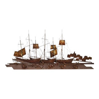 Curtis Jere Large Rusted Metal Wall Sculpture of Sailboats & Ships