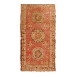 1910s Antique Khotan Geometric Red and Beige Wool Rug-3′11″ × 7′8″ For Sale