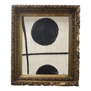 Contemporary Abstract Black and White Painting, Framed For Sale