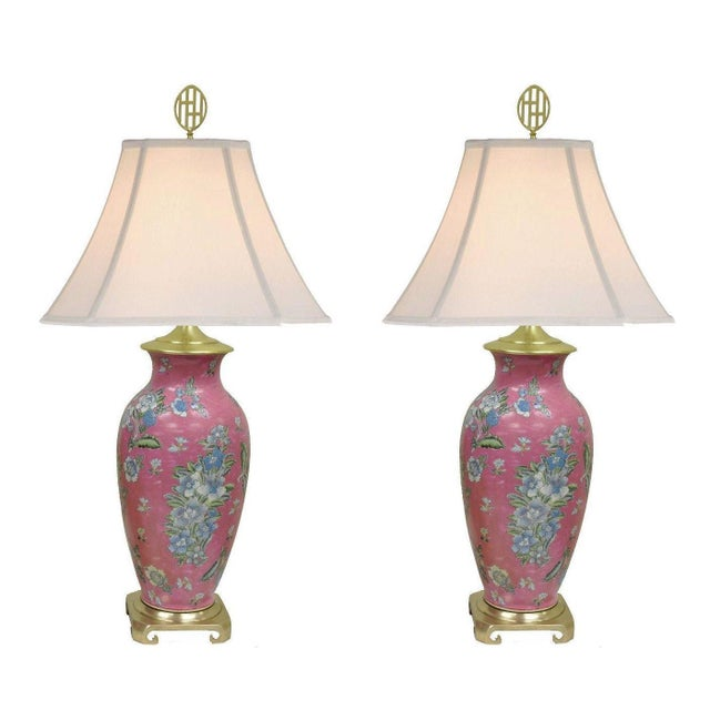 Pair of Vintage Oriental Heyward House Brass Ceramic Pink Floral Table Lamps For Sale In Philadelphia - Image 6 of 11