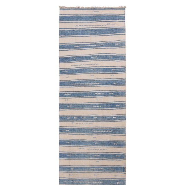 "Rug & Kilim Vintage Malatya Geometric Blue Gray Wool Kilim Runner-2'5'x15'5"" For Sale - Image 4 of 8"