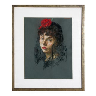 "Thomas Strickland, ""Lourdes With Red Rose"", Framed Pastel Portait For Sale"