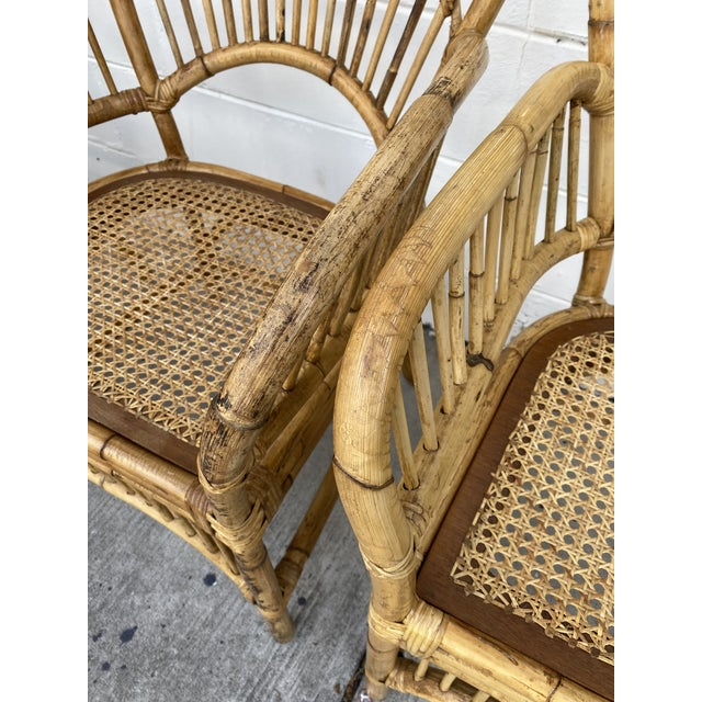 Vintage Rattan Fan Back Chairs- Set of 8 For Sale - Image 9 of 13