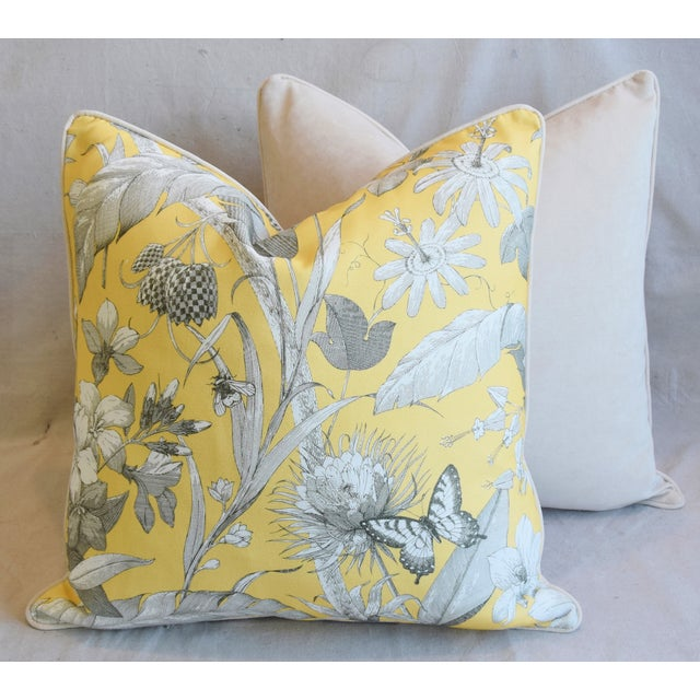 "Designer English Floral & Nature Linen/Velvet Feather & Down Pillows 24"" Square - Pair For Sale - Image 12 of 13"