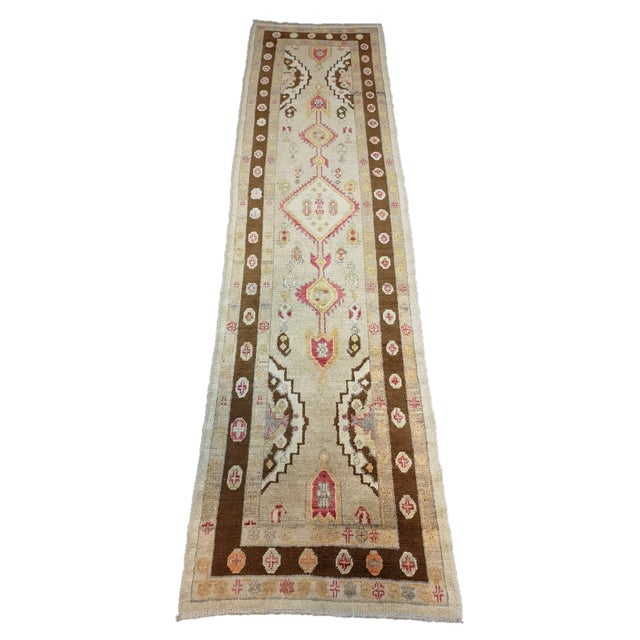 Turkish Contemporary Hand-Knotted Oushak Runner Rug For Sale - Image 10 of 10
