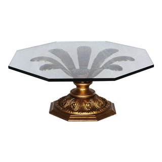 Hollywood Regency Gilded Metal Flower Petal Coffee Table For Sale