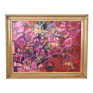 Large Juan Pepe Guzman Colorful Abstract Painting For Sale