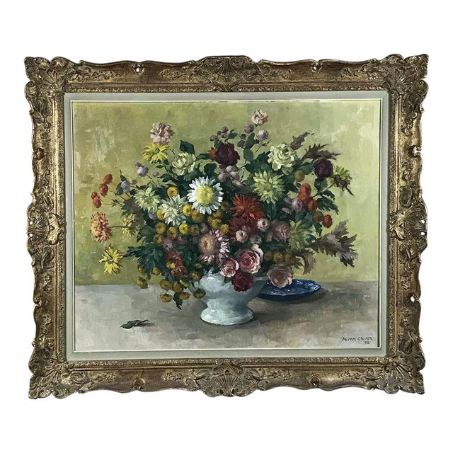Antique Hand Painted Oil on Canvas by Marcel Van Cauter For Sale