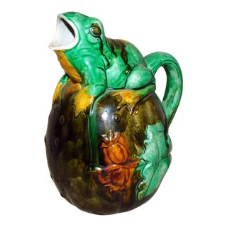 Portuguese Majolica Frog Pitcher For Sale