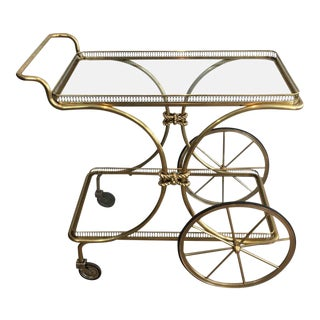 French Brass Bar Cart by Maison Baguès