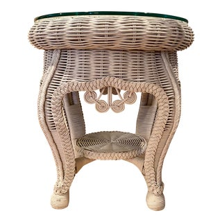 Vintage French Mid Century Wicker Woven Table One the Manner of Haywood Wakefield For Sale