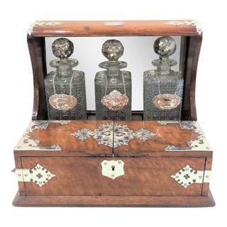Antique English Games Box Tantalus with Sheffield Silver Mounts, Circa 1880.
