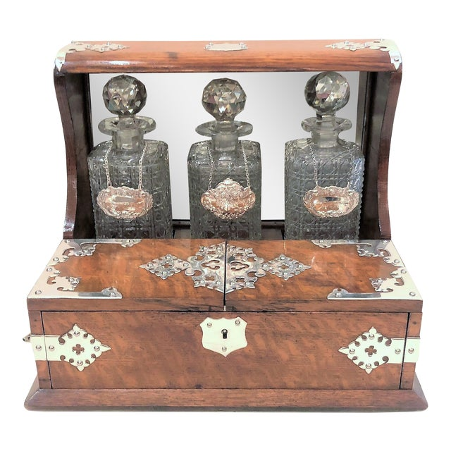 Antique English Games Box Tantalus with Sheffield Silver Mounts, Circa 1880. For Sale