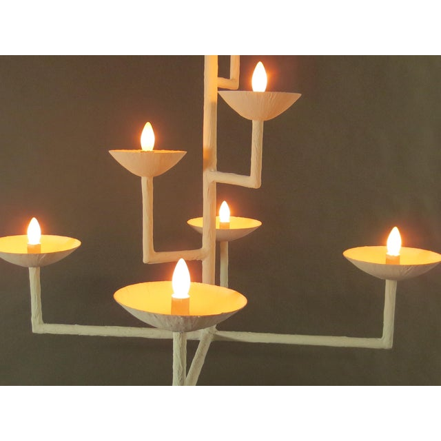 7 Cup Plaster Chandelier For Sale - Image 10 of 12