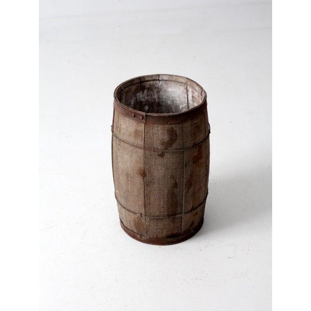 Antique Primitive Wooden Barrel For Sale - Image 5 of 9