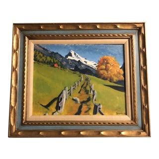 Original Vintage Western Mountains Painting 1960's Carved Wood Frame Signed For Sale