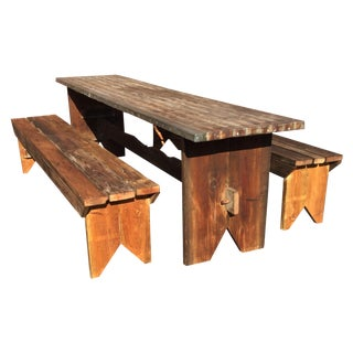 Custom Made Table with Laminate Top & 2 Benches For Sale