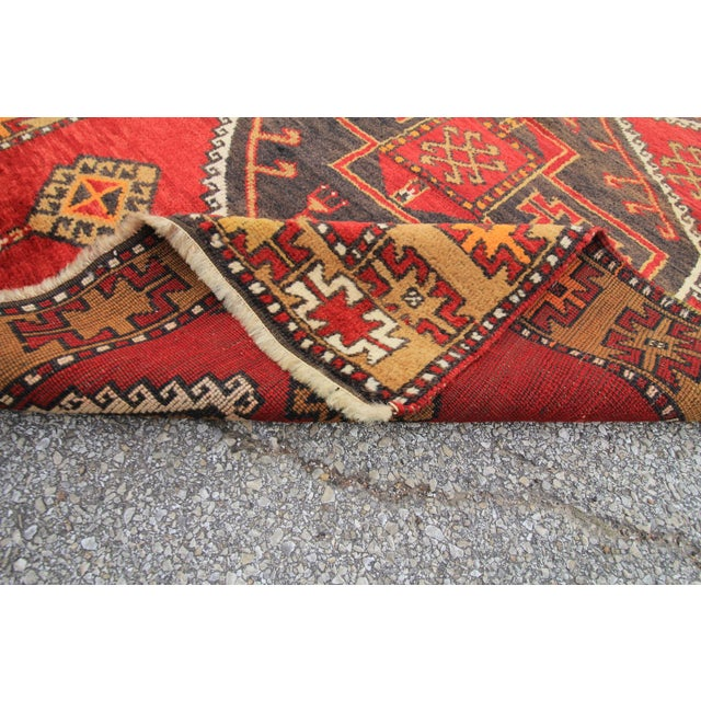 Vintage Tribal Antique Turkish Oushak Hand Knotted Rug - 3'9 X 11'10 For Sale - Image 5 of 5