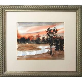 Vintage Watercolor Sunset Landscape For Sale