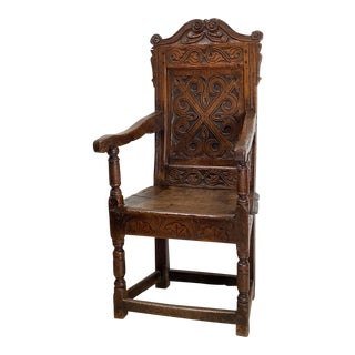 English Charles II Oak Armchair For Sale