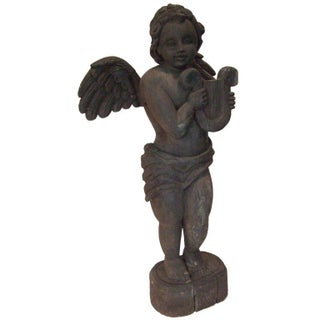 19th Century Carved Angel with Lyre