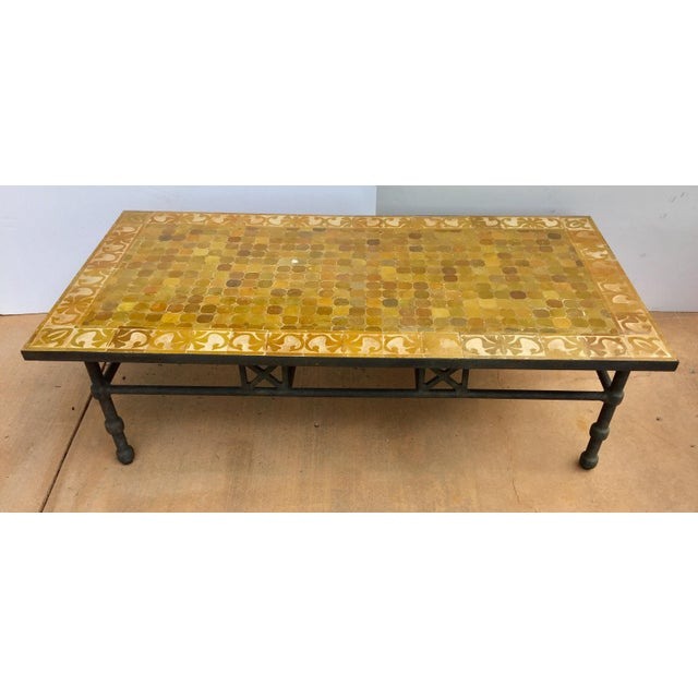 Vintage Moroccan Mosaic Brown Tile Rectangular Coffee Table For Sale - Image 12 of 12
