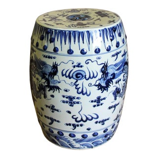 Chinese Blue & White Porcelain Round Dragons Theme Stool For Sale