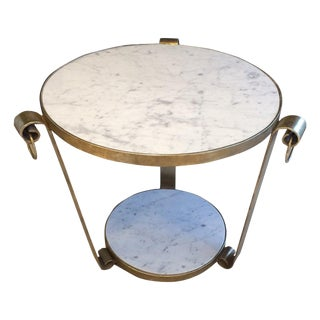 Mid-Century Wrought Iron Table in White Gold Leaf and Marble For Sale