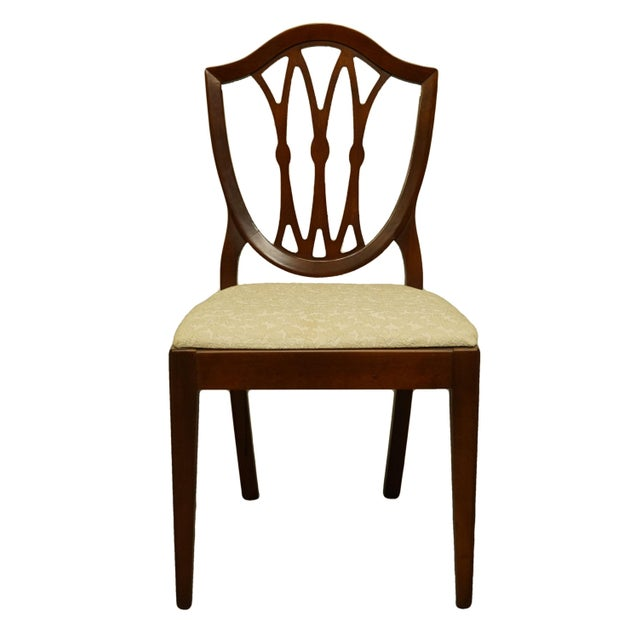 1960's Antique Vintage Solid Cherry Duncan Phyfe Sheild Back Side Chair For Sale - Image 10 of 10