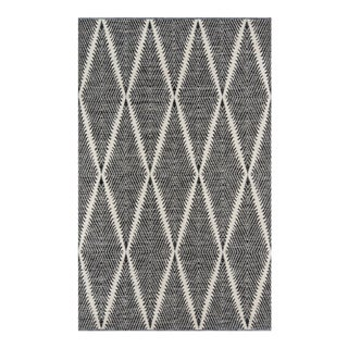 Erin Gates by Momeni River Beacon Black Indoor/Outdoor Hand Woven Area Rug - 7′6″ × 9′6″