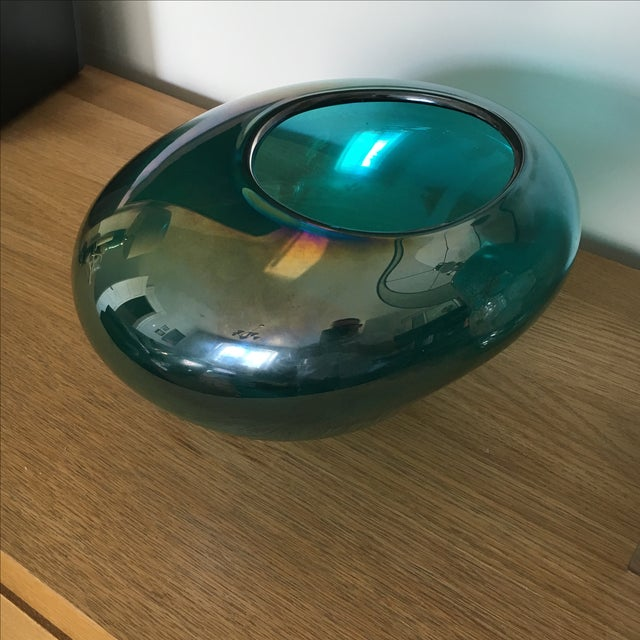 Teal Iridescent Fish Bowl - Image 3 of 3