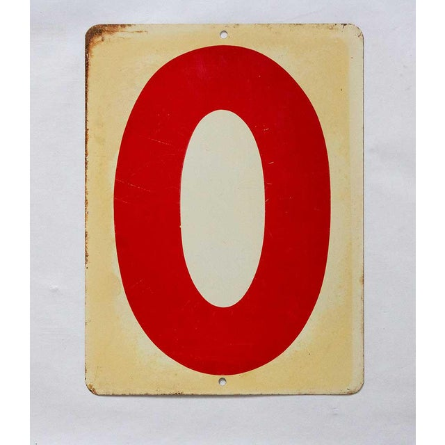 Charming rustic industrial gas station sign, reversible to number 7 or 0. Made in the mid 20th century.
