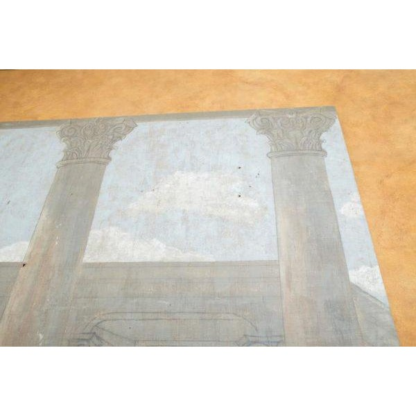 Late 19th Century 19th Century Normandy Hand Painted Tapestry of Architecture For Sale - Image 5 of 9