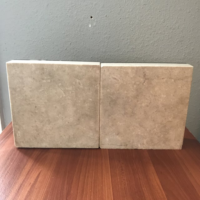 Vintage Heather Quartz & Black Taupe White Marble Bookends - a Pair For Sale - Image 4 of 9