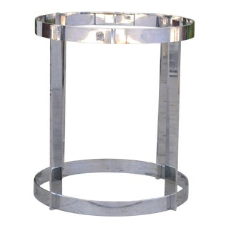 Vintage Heavy Chrome Table Base Center Table For Sale