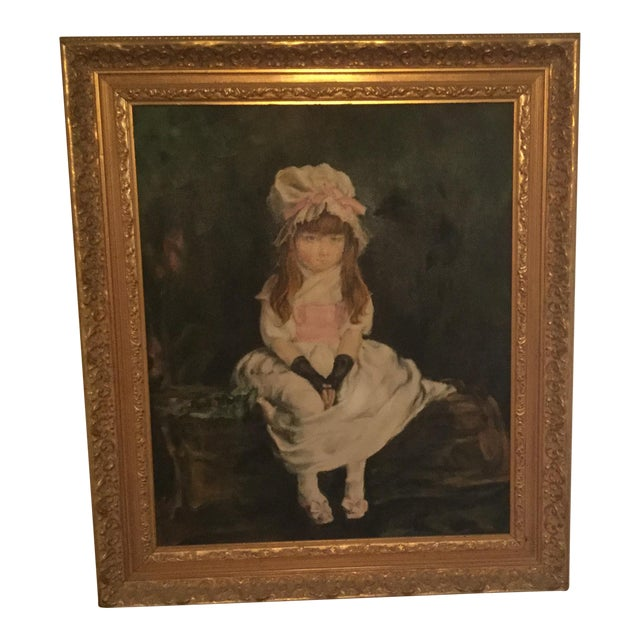 Antique Young Girl Oil Painting - Image 1 of 3
