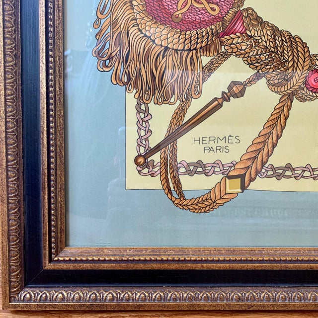 American Professionally Framed Hermes 100% Silk Scarf For Sale - Image 3 of 6