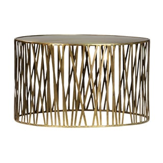 Round Brass Stick Drum Coffee Table For Sale