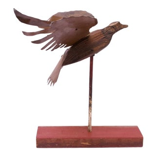 Folk Art Mounted Metal and Wood Carved Eagle Statue For Sale