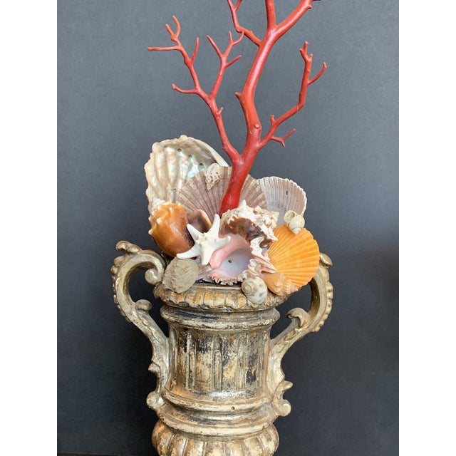 Metal Baroque-Style Carved Silver Gilt Urns With Shell & Faux Coral Composition - a Pair For Sale - Image 7 of 12