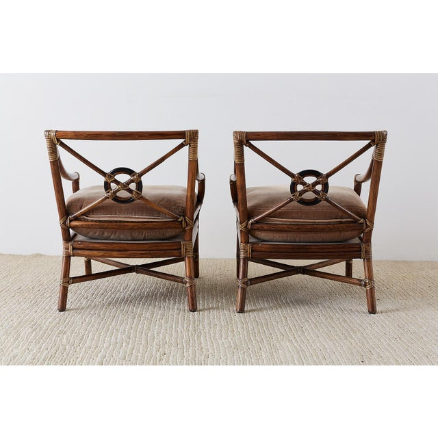 Pair of McGuire Bamboo Rattan Target Lounge Chairs For Sale - Image 12 of 13