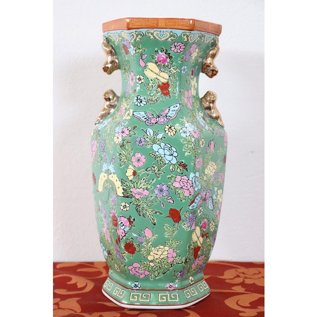 Asian 20th Century Chinese Vintage Artistic Vase in Ceramic Green and Floral Motifs For Sale - Image 3 of 11